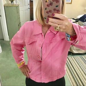 Berer Pink Denim Jacket Fancy Trim